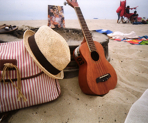 guitar, beach, and summer image