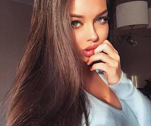 blue eyes, lips, and brunette image