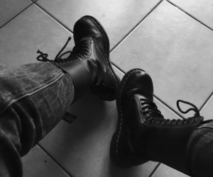 black and white, doc martens, and shoes image