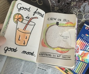 draw, food, and wreckthisjournal image