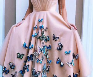 butterfly, dress, and pink image