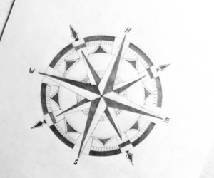 black and white, compass, and draw image