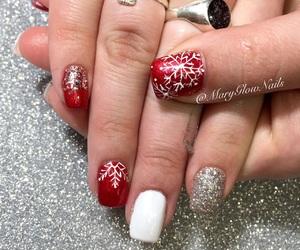 nails, red, and xmas image