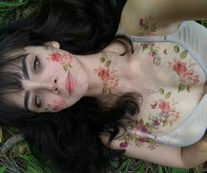 girl, eyes, and flowers image