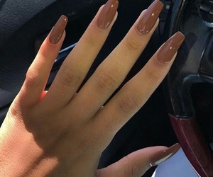 brown, nails, and pretty image