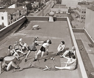 boxing, vintage, and woman image