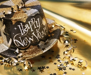 gold, party, and new year image