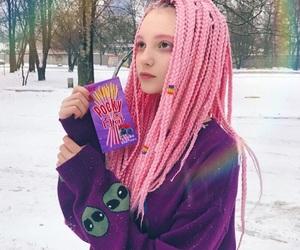braids, dreadlocks, and pink dreads image