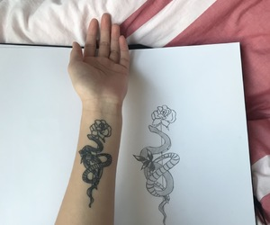 drawing, flower drawing, and snake tattoo image