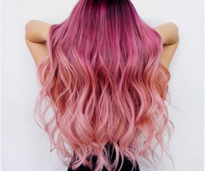 pink hair, ombre hair, and pink ombré hair image
