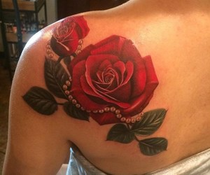shoulder tattoo, tattoo, and floral tattoos image