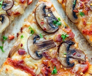 delicious, mushrooms, and pizza image