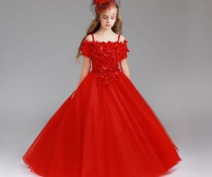 ball gown, off the shoulder, and red dress image