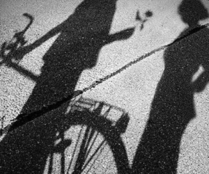shadow, black and white, and couple image