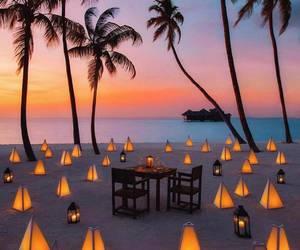 beach, sunset, and romantic image