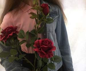 rose, girl, and flowers image
