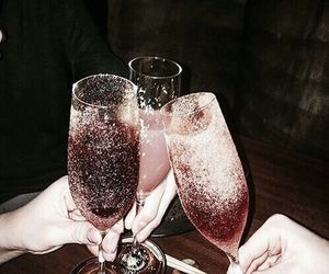 champagne, drinks, and glitter image