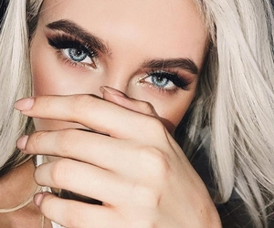 girl, blue eyes, and makeup image