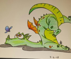 dragon, butterfly, and clumsy image