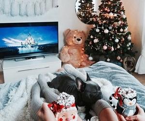 blanket, candle, and christmas lights image