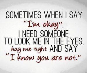 hug, quotes, and sad image