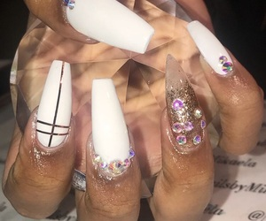 diamonds, nails, and white image