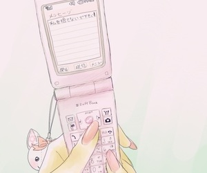 pink, phone, and anime image