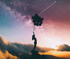 stars, sky, and girl image