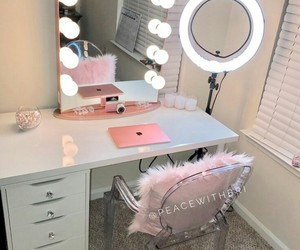beauty, makeup vanity, and chic image