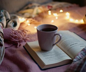 book, lights, and coffee image