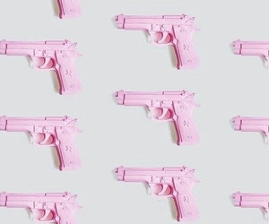 pink, gun, and wallpaper image