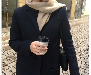 coat, coffee, and style image