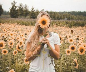 sunflower, girl, and flowers image