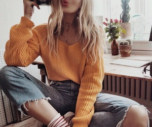 blonde, fashion, and happiness image