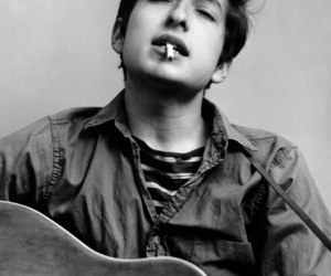 bob dylan, guitar, and black and white image