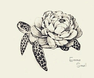 flower, tattoo, and turtle image