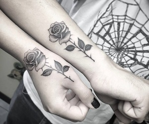 couple, ink, and rose image