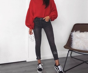 jeans, aesthetic outfit, and red sweater image