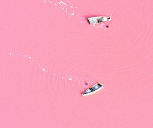 pink, boat, and lake image