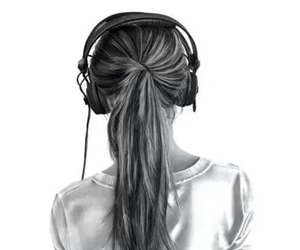 music, girl, and drawing image