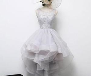 grey, lace formal dress, and short prom dress image