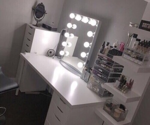 makeup, vanity, and bedroom image