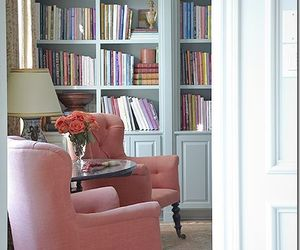armchairs, bookshelves, and home decor image