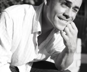 dacre montgomery, stranger things, and black and white image