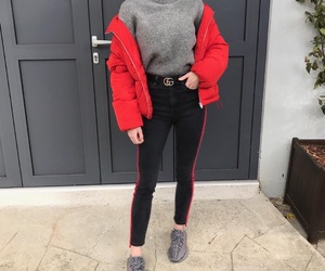 fashion, red, and black image