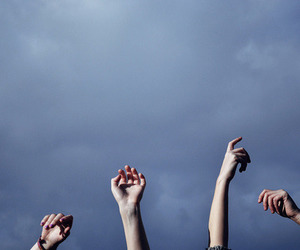 hands, sky, and grunge image