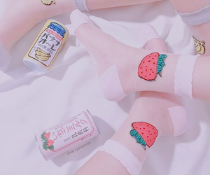 socks, strawberry, and aesthetic image
