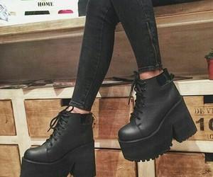 shoes, black, and platforms image