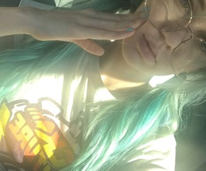 blue hair, car, and glasses image