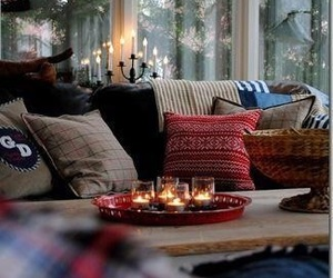 candles, livingroom, and fire image
